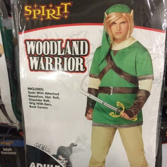 Costume - SPIRIT WOODLAND WARRIOR INCLUDES: Tunic With Attached Gauntlets, Hat, Belt, Shoulder Belt, Wig With Ears, Boot Covers Adutt Costume ADUL