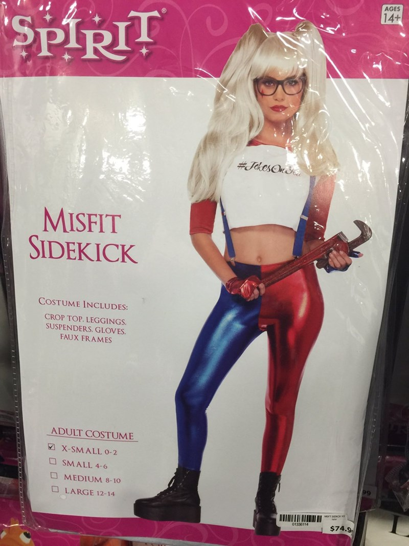 Clothing - AGES 14+ SPIRIT #JhesOn MISFIT SIDEKICK COSTUME INCLUDES: CROP TOP. LEGGINGS SUSPENDERS. GLOVES FAUX FRAMES ADULT COSTUME X-SMALL 0-2 SMALL 4-6 MEDIUM 8-10 LARGE 12-14 01336114