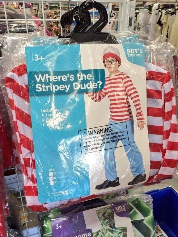 Textile - 3+ ΒΟΥSS COSTUME Where's the Stripey Dude? Inclu Hat A WARNING: Plastic begs can be dangenrous Ta avo d danger of euttocation keep inis bzg away from babies and childrea. Size: M sd edticatin aram KID's KID'S COSTUME 3+ ame NIE