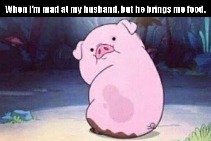 Animated cartoon - When I'm mad at my husband, but he brings me food.