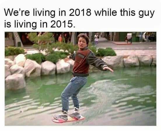 "Marty McFly riding hoverboard in ""Back to The Future""'s version of the year 2015"