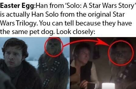 obvious Easter egg meme about the character of Han Solo being accompanied by Chewbacca