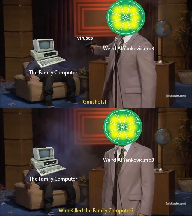 limewire meme about the viruses destroying the computer