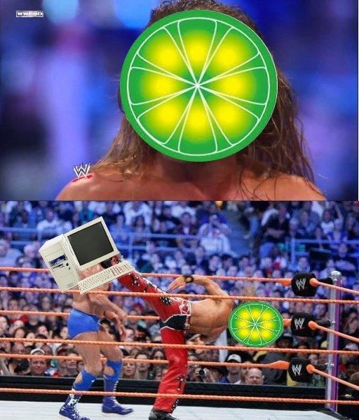 limewire meme comparing it to a wrestler destroying a computer