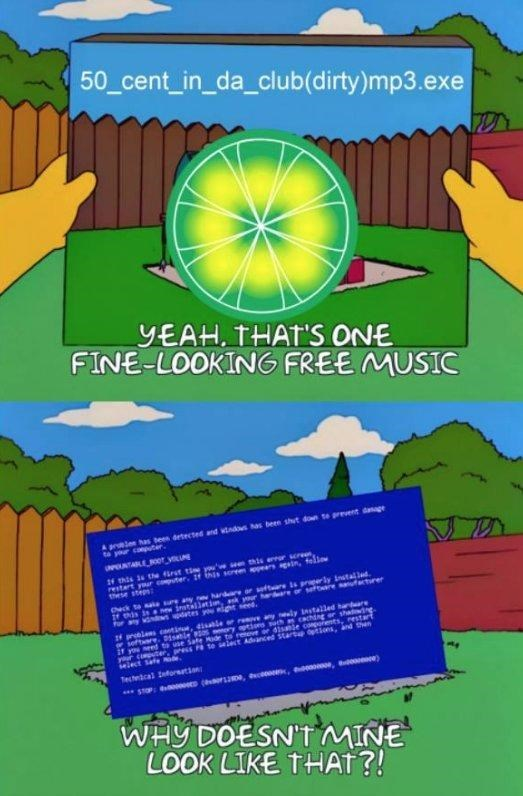 limewire meme about wanting to download a song and it doesn't show as shown