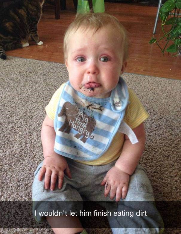 parenting meme about a baby crying after you stop him from eating dirt