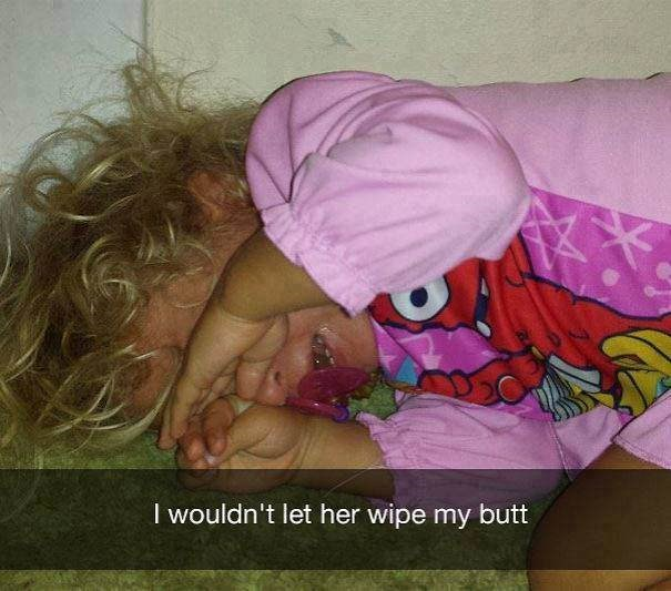 parenting meme about a baby crying because you didn't allow her to wipe your butt