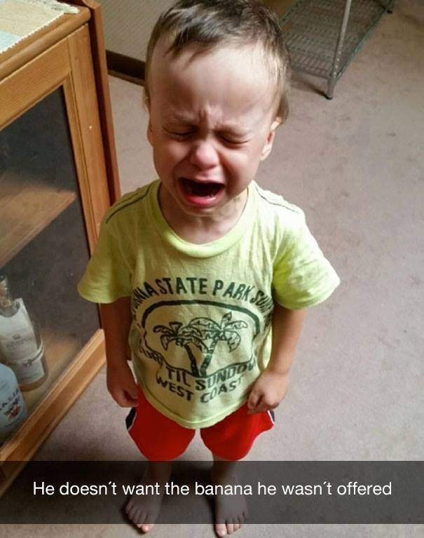 meme about parenting of a kid crying for no apparent reason