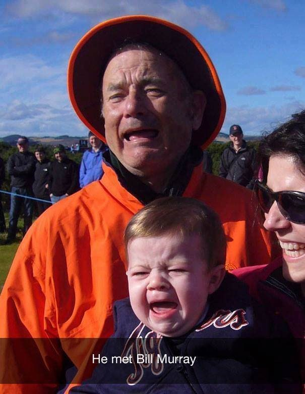 parenting meme of a baby next to Bill Murray and they are both crying together