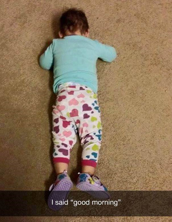 """parenting meme about a toddler who ignores you when you say """"good morning"""""""