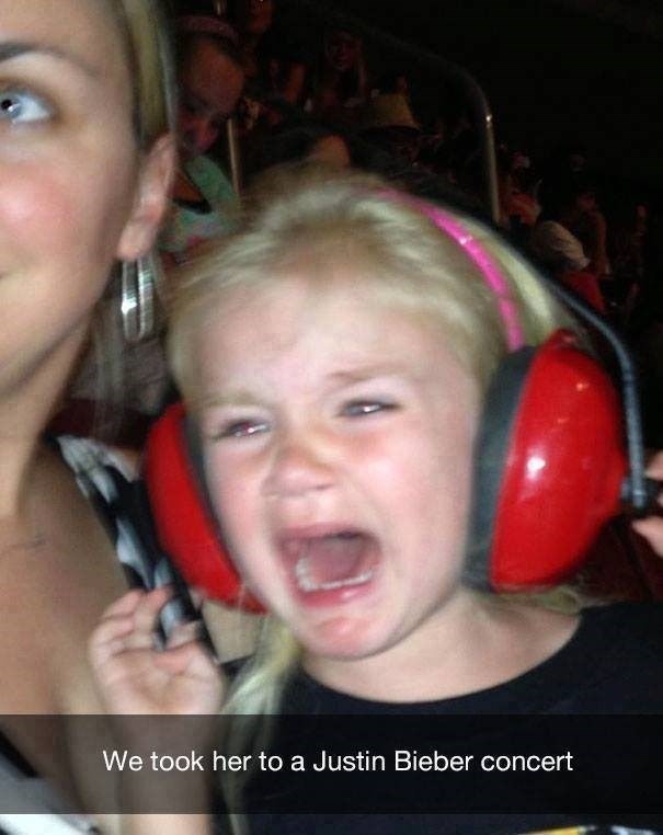parenting meme about having you daughter cry after seeing Justin Bieber in concert