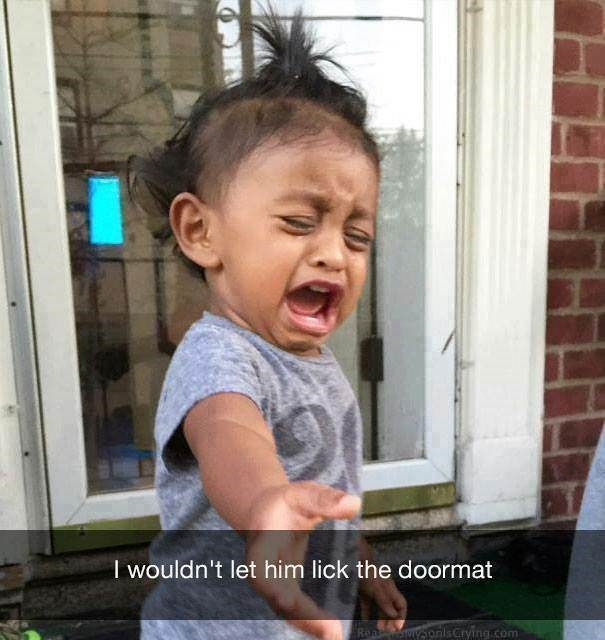 parenting meme about a kid crying after being told he can't lick the doormat