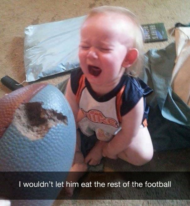 parenting meme of a toddler crying next to a chewed up football after getting yelled at for chewing it