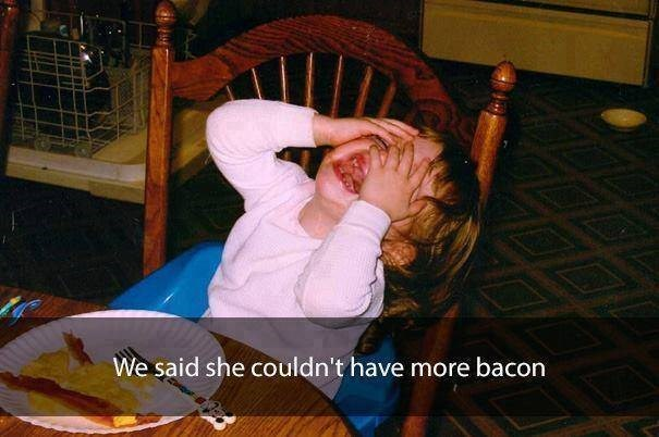 parenting meme of a girl crying by the table after being told she can't have more bacon