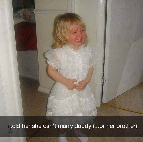 parenting meme of a girl in a bridal dress and crying because she cannot marry her family members