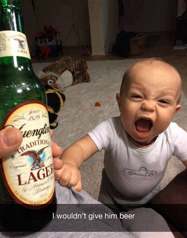 parenting meme of a baby crying next to his father because he cannot drink beer