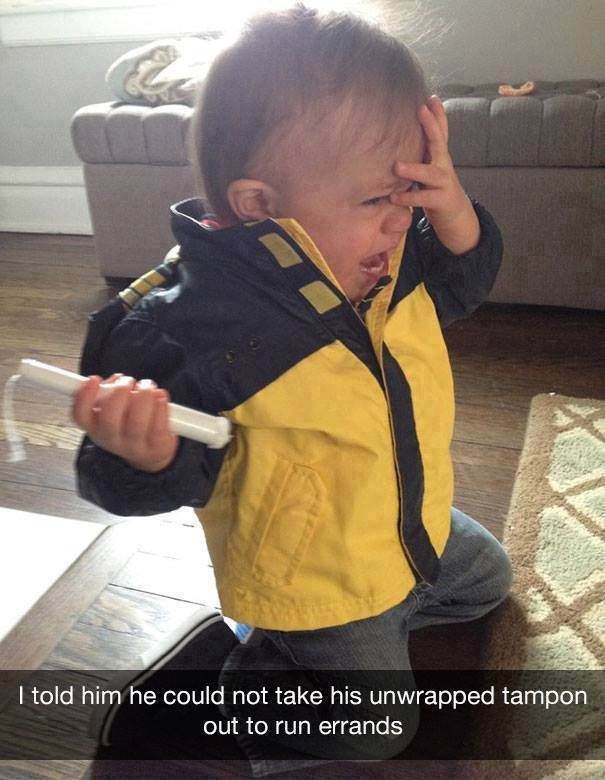 parenting meme about trying to stop your kid from taking a tampon outside and then he cries