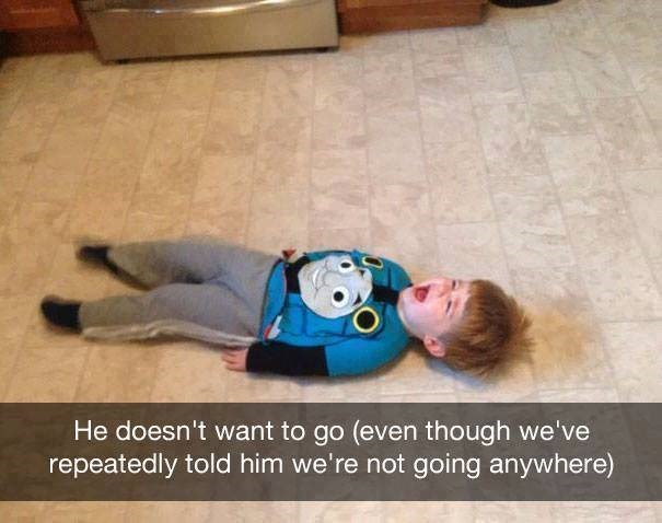 parenting meme of a little boy laying on the floor and crying after not wanting to leave the house