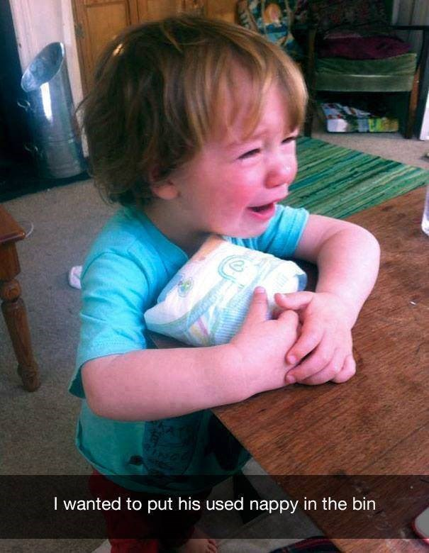 parenting meme of a kid holding his used diaper and crying after his parents tried to throw it in the trash