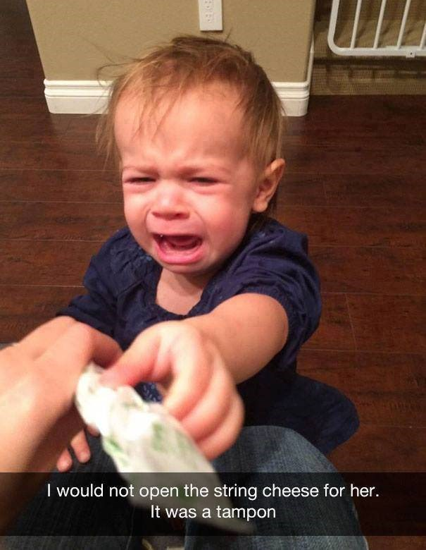 parenting meme of having your kid cry because they think a tampon is string cheese