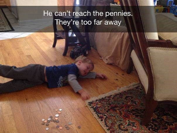 parenting meme of a kid crying while laying on the floor among a scattering of pennies