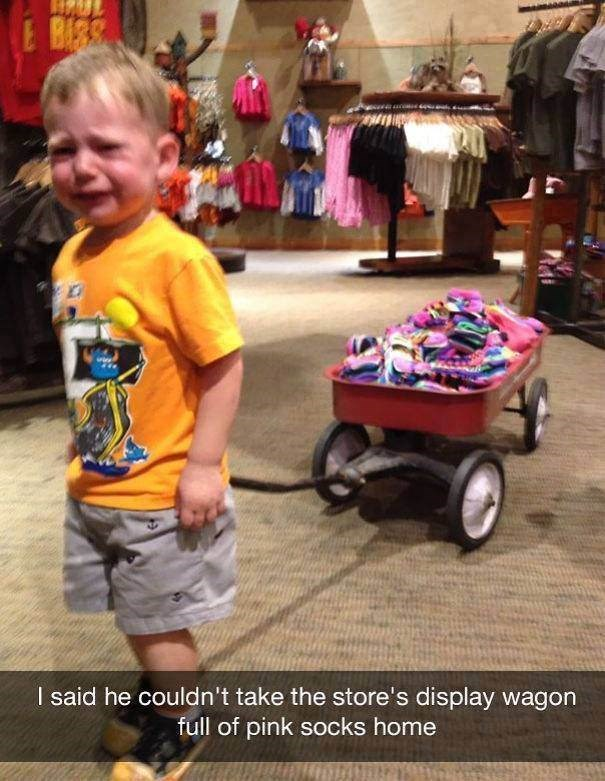 parenting meme about a kid crying in a store after he tried to take an item home