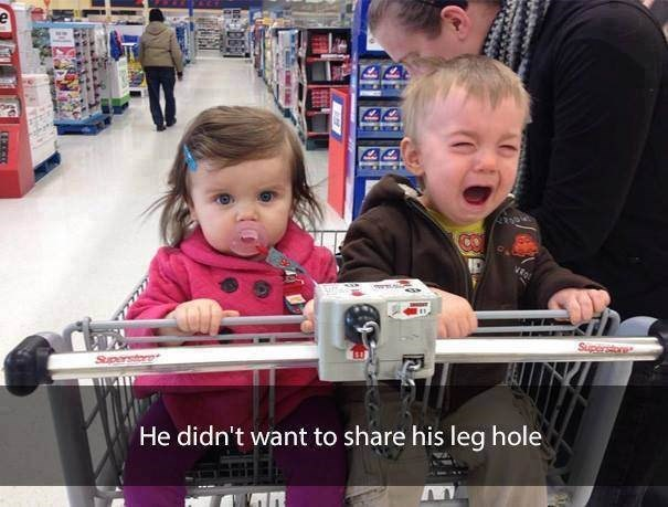parenting meme about having two kids and one cries because the others leg is touching theirs in a shopping cart