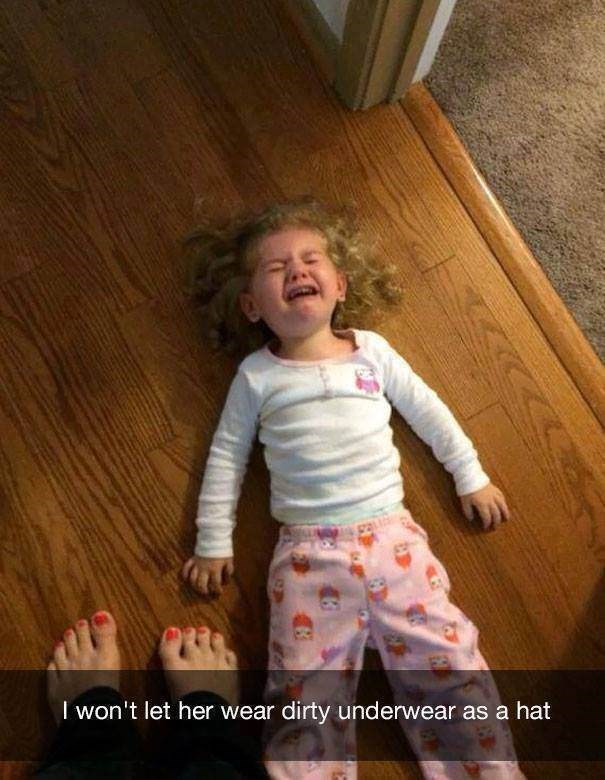 parenting meme of a little girl laying on the floor and crying after not being allowed to wear underwear as a hat