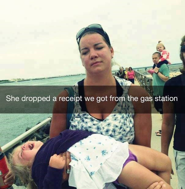 parenting meme of a girl crying in her mothers arm after losing a receipt from a gas station