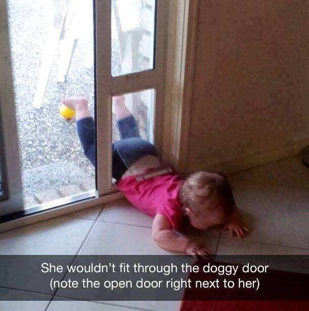 parenting meme of a toddler trying to fit into the doggy door but failing and crying instead