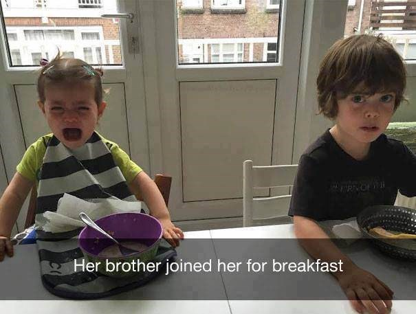 parenting meme of a girl crying after he bother sits next to her at the breakfast table