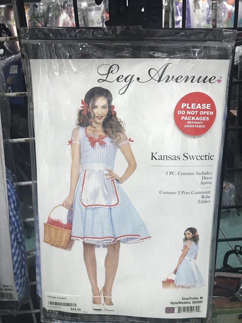 Clothing - RIPER RICASRR Lega Avenue PLEASE DO NOT OPEN PACKAGES WITHOUT ASSISTANCE Kansas Sweetie 2 PC. Costume Includes: Dress Apron Costume 2 Pces Contenant: Robe Tablier Size: L e: 83092 Kansas Sweetie Size/Taille: M VHI 714718009792 Style/Modèle: 85509 $54.99