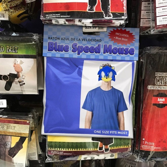 Advertising - CHING CHONG AD NISE ONE SIZE ITS MOST ACCESSORIES SOLD BEPARATELr ADVERT $29.99 INCLUDES Blue Shirt RATÓN AZUL DE LA VELOCIDAD Blue Speed Mouse D BELT RENAISS CAP CAPA DEL RENA Adult DpDESSES DR BELT ONE SIZE FITS MOST 1 Pc/pza CH SERTSoe ACCEsin goD SERArsL HOODED COALE asers VEL MAISSANCE