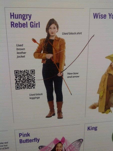 Pattern - Hungry Rebel Girl Wise Y Used black shirt Used brown leather jacket New bow and arrow Used black leggings King Pink Butterfly ke red ne hat t of felt!