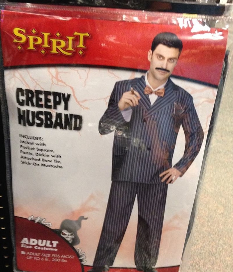 Suit - SPIRIT CREEPY HUSBAND INCLUDES: Jacket with Pocket Square, Pants, Dickie with Artached Bow Tie, Stick-On Mustache ADULT Size Costme ADULT SIZE FITS MOST UP TO& 200 lbs