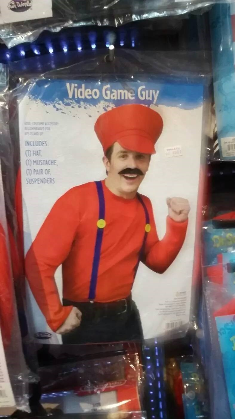 Headgear - Wonla Video Game Guy R NO INCLUDES HAT )MUSTACHE ) PAIR OF SUSPENDERS