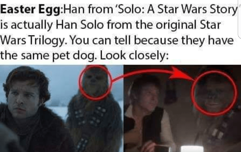 """Text - Easter Egg:Han from 'Solo: A Star Wars Story"""" is actually Han Solo from the original Star Wars Trilogy. You can tell because they have the same pet dog. Look closely:"""