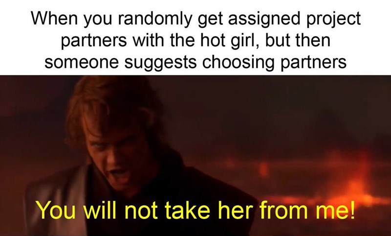 Text - When you randomly get assigned project partners with the hot girl, but then someone suggests choosing partners You will not take her from me!
