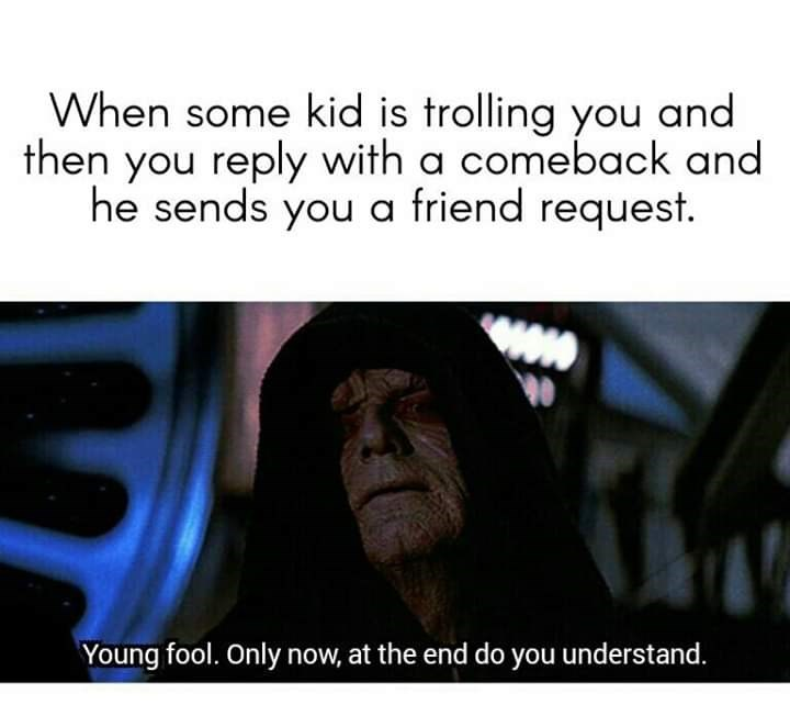 Text - When some kid is trolling you and then you reply with a comeback and he sends you a friend request. Young fool. Only now, at the end do you understand.