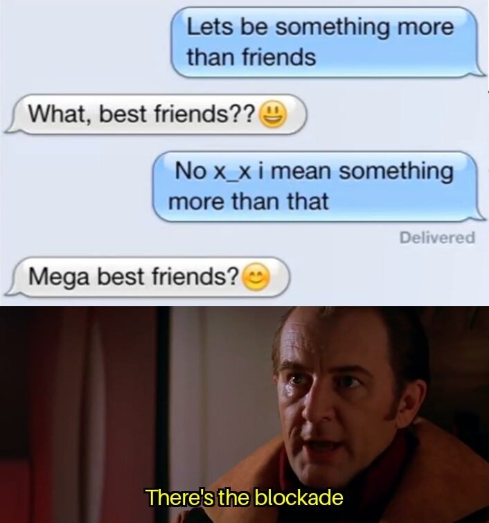 Text - Lets be something more than friends What, best friends?? No x_xi mean something more than that Delivered Mega best friends? There's the blockade