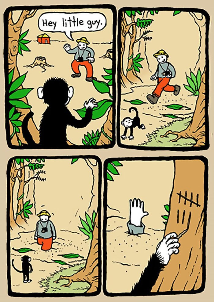 comic about little monkey leading tourists to their deaths and keeping a tab