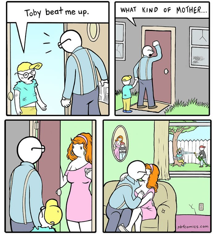 comic about father letting son get bullied so he can hook up with bully's mother