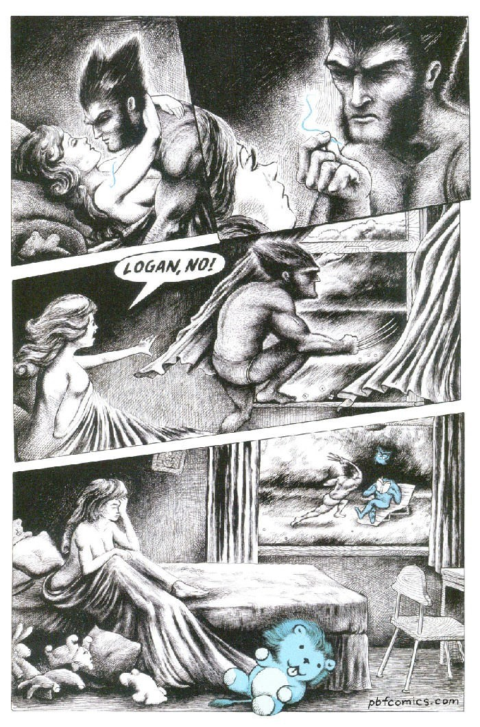 comic about Wolverine killing Beast after finding hair from blue stuffed animal in bed