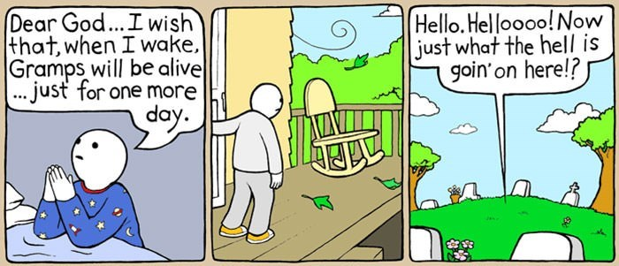comic about grandson bringing grandpa back to life inside of his grave