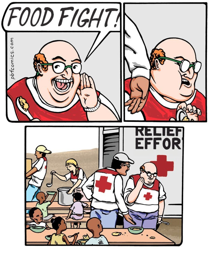 comic about man trying to start food fight between starved children
