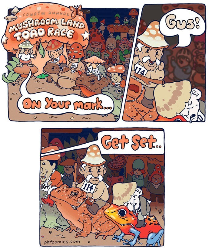 comic about toad race with participant riding poisonous frog dying before the race starts
