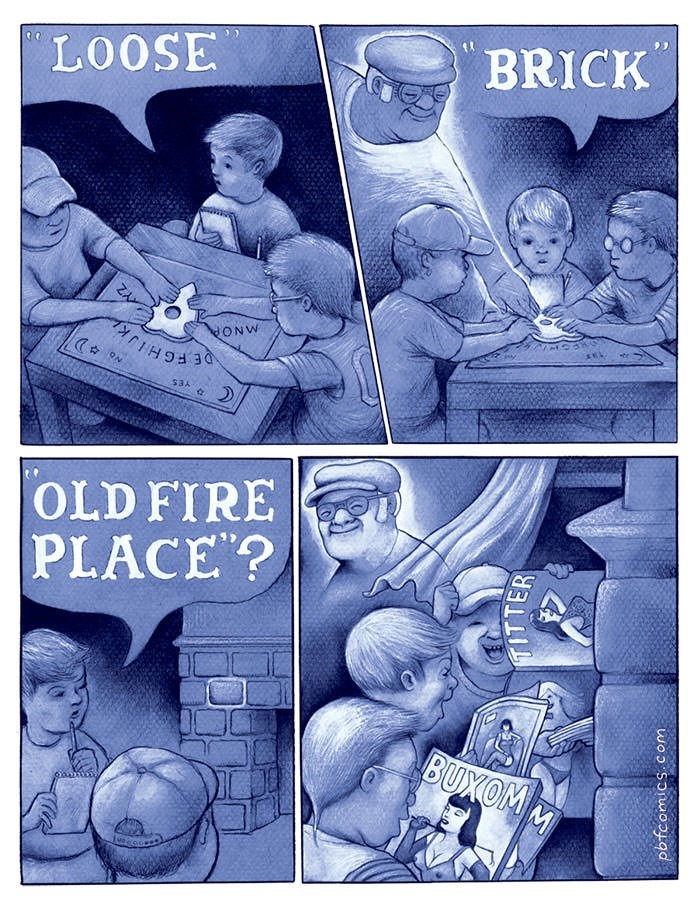 comic about spirit contacted through Ouija board telling kids where to find porn magazines