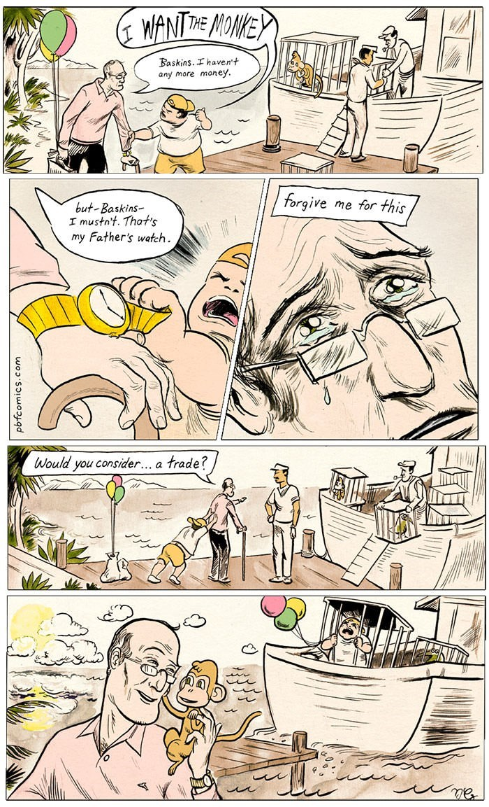 comic about man trading bratty child for monkey