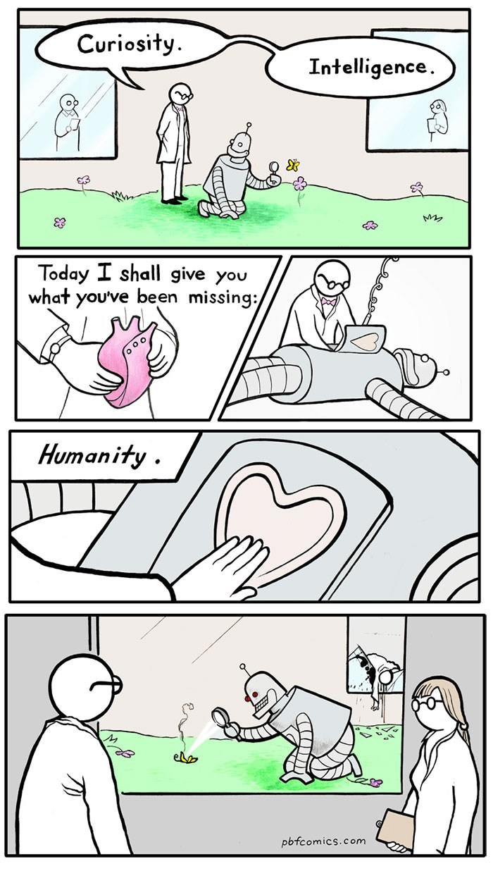comic about giving robot a heart to make it human, which causes it to become evil