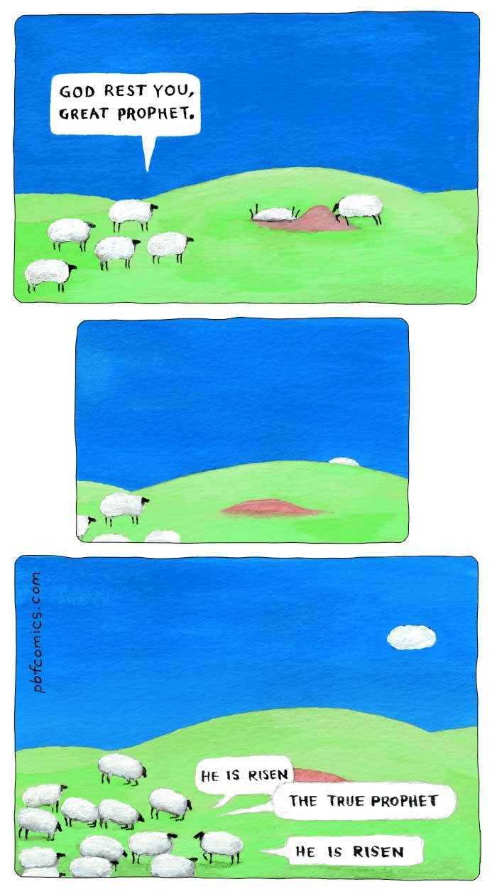 comic about sheep seeing cloud in the sky and calling it their risen prophet